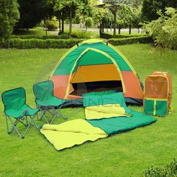 Hongjin Outdoor Camping Combo Set with Tents, Sleeping Bags, Chairs