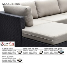 Patio furniture outdoor sectional sofa set with 15cm cushions.