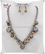 Hematite Tone / Bronze Glass Crystal / Synthetic Pearl / Lead&nickel Compliant / Charm Necklace & Fish Hook Earring Set