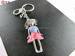Beautiful girl/cute girl in dress keychain/ keyring/ key finder