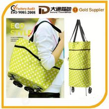 Foldable shopping trolley bag oxford fabric with wheels