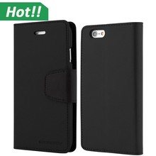 Black Goospery Sonata Wallet Diary Credit Card Slot Stand View phone case