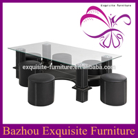 Glass top black PU covered modern wooden coffee table with stools