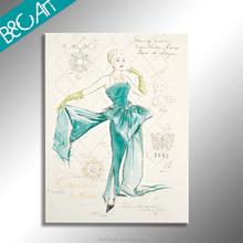 European style elegant dancing woman body painting oil painting