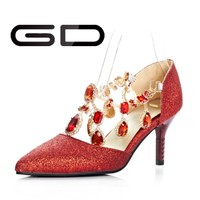 Low price closed toe high heels red diamond women shoes