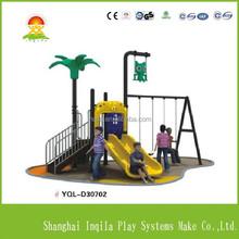 Outdoor children plastic slide and swing set