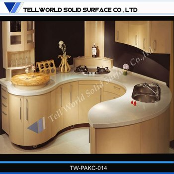 New design round shape stone kitchen counter top view for A t design decoration co ltd