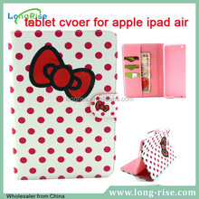 Wholesale Polka Dots & Red Bowknot Pattern Magnetic Side Flip Tablet Cover for apple iPar Air 2 with Cash Slot