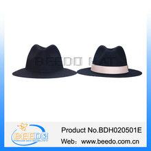Stylish black big brim felt fedora hat with white band