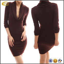OEM wholesale slim fit Sexy Drape Cowl Neck Long Sleeve Party Knit Dress