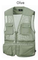 Mens Sleeveless Utility Multi Pockets Zip Hunting Fishing Hiking Vest Waistcoat