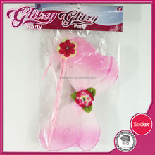 FW-1027 2015 New product Mixed Color Butterfly Wings with Flower wand for Kids Fairy Princess Favor sets Wings for Girls