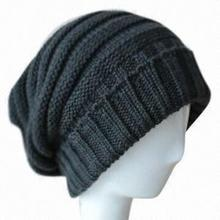 Mens knitted long beanie hat fashionable and soft cheap blank beanie