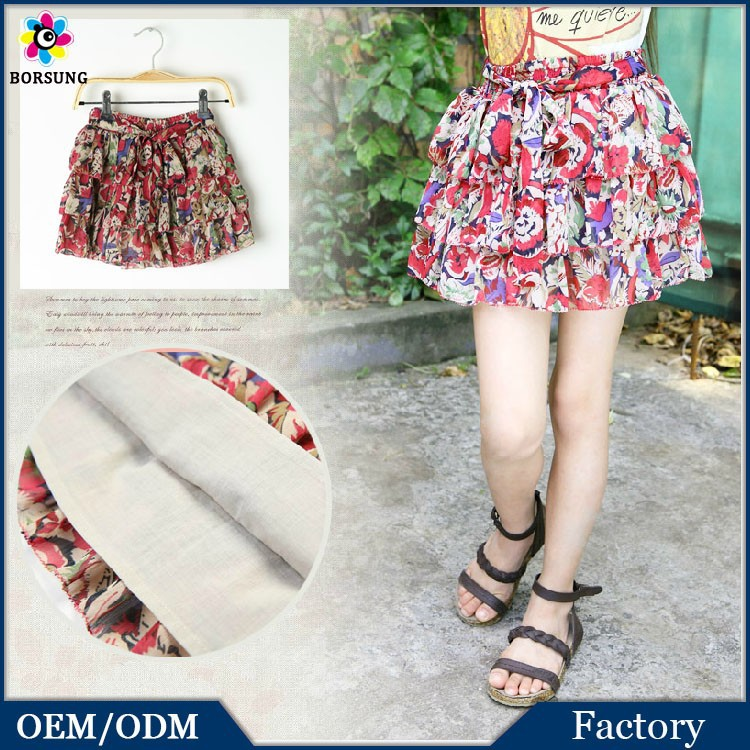 2015 Hot Girls MiNi Skirts Tropical Printing Layered Chiffon Summer Girls Boutique Clothes