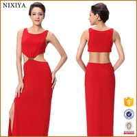 Elegant Body Con Midi Fashion Red Dress For Middle Aged Women