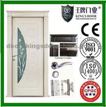 2015popular design wooden interior mdf pvc room door/hotel door with Upper frame
