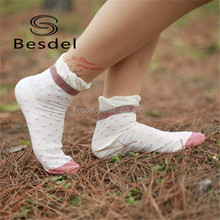 women plain color with spots thin cotton ankle socks, lace ankle socks girls