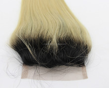 4*4'' Virgin Hair Free Parting dark roots hair closure piece