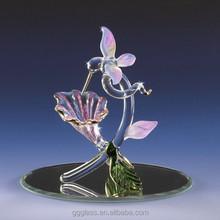 glass figurines hummingbird flower