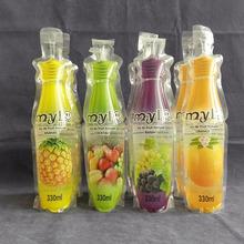 Quality plastic manufacturer Bottle shape pouches for juice standing pouch