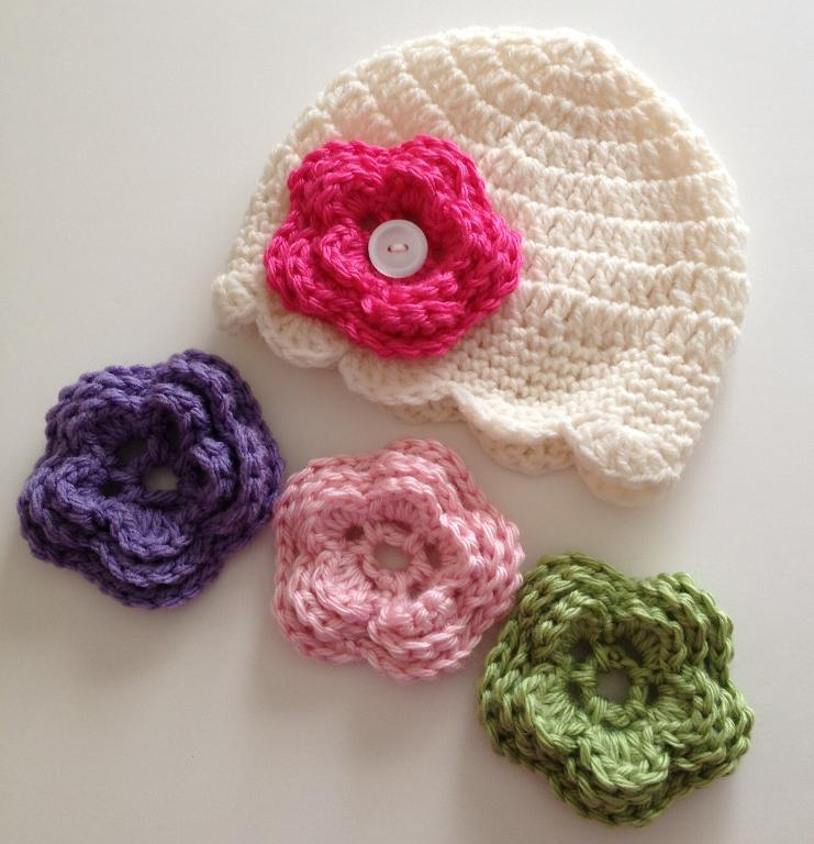 Crochet Flower For Hat : ... Flower,Girls Crochet Beanie With Flower,Girls Crochet Beanie Hat