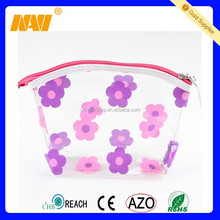 Colorful flowers waterproof transparents pvc cosmetics bag plastic makeup case toiletry organizer