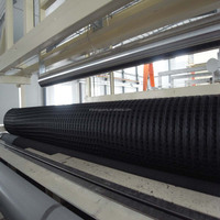 70-70KN warp knitting SBR coated polyester geogrid with CE certification