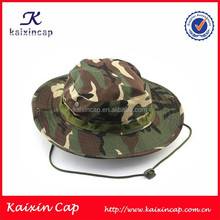 custom cheap fashion high quality camo fabric bucket hat men with string
