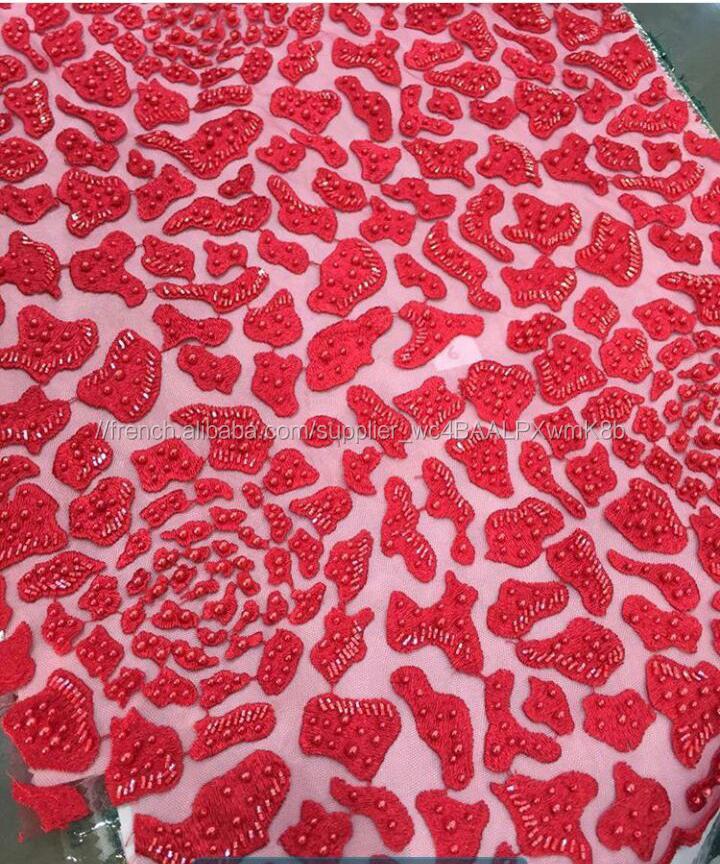 Perlée africain tissus de dentelle avec perles derniers modèles de vêtements rouge français dentelle