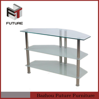 High Quality tempered Glass designer lcd cabinet for living room