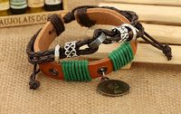 factory price beauty hot sell female coin genuin leather bracelets