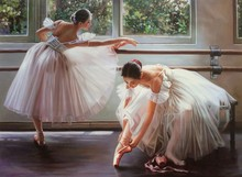 Buy Direct Hand-painted Modern Art Ballet Dancer Ballerina Oil Painting On Canvas Wall Art Home Interior Decoration