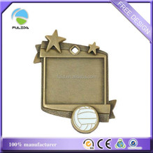 custom cheaper square blank frame bronze sports volleyball medal