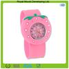 Sweet custom stawberry shaped silicone watch /kids slap watch