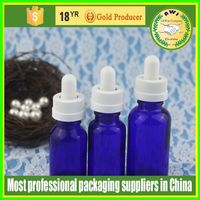 packaging cosmetics 30ml dark brown olive oli glass dropper bottle with black or white childproof &tamper cap Made in China