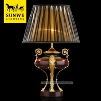 New Design Baroque 1 Lights black Hotel Lobby Lampshade Bronze wood antique lamp shades/ decorative table lamps