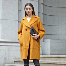 Lady cashmere winter coat smple ginger coat with two buttons