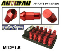 AUTOFAB -Red JDM 20PCS/Set 50mm R*YS Anti Theft Racing Wheel Lug Nuts M12*1.5Forged 7075 Aluminum For Honda AF-RAYS 50-1.5 (Red)