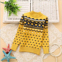FB004 long sleeve high quality double layer knit boutique clothes boy pullover sweater