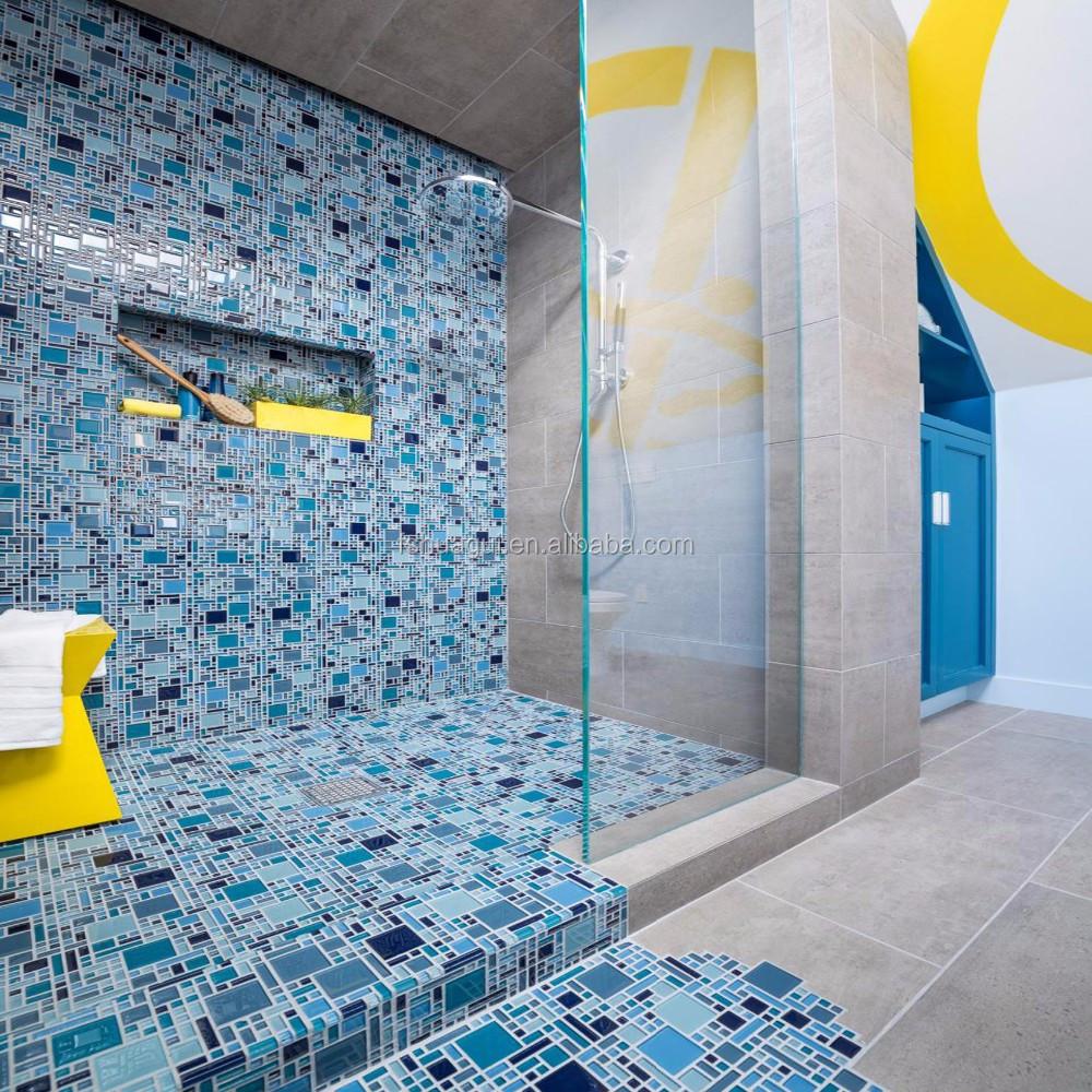 Home Depot Glass Mosaic Blue Tile For Shower Room - Buy Blue Tile ...
