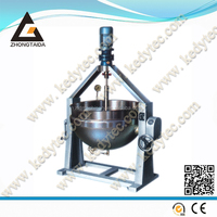 Tilting Steam-heating Jacketed Kettle / Jacketed Boiler With Scraper Stirrer And Agitator Mixer / Cooking Pots