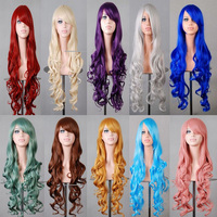 Hot selling curly cosplay 80cm 12 colorful body wave wigs with side