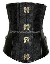 factory price hot sale black wholesale underbust waist reducing leather steel boned corsets