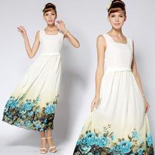 Station advanced development of United States Princess positioning of Hawaiian flower twist waist Slim skirt dress Casual Dress