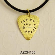 best selling wholesale fake 14k gold tone custom metal guitar pick pendant