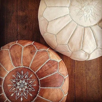 Fabulous Moroccan Handcrafted Genuine Leather Pouffes