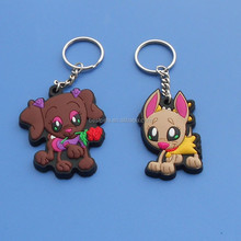 cute cat and dog keyring, promotional PVC piece cartoon network keychains