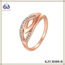 2015Jewelry Set Rose Gold Platinf Simple Designs Zircon Ring Beautiful For Women