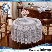 Premium Taiwan-Made Vinyl Crochet White Round Table Cloth