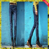 Latest design female high waisted jeans / wholesale acid wash high waist han edition elastic thin pencil jeans